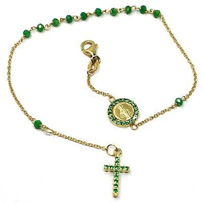 18K YELLOW GOLD ROSARY BRACELET, FACETED EMERALD ROOT, CROSS, MIRACULOUS MEDAL