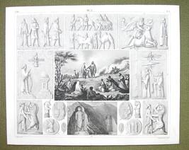PERSIA Idols Mythology Animals Darun Celebration - 1844 SUPERB Engraving... - $16.84