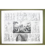 PERSIA Idols Mythology Animals Darun Celebration - 1844 SUPERB Engraving... - $16.84
