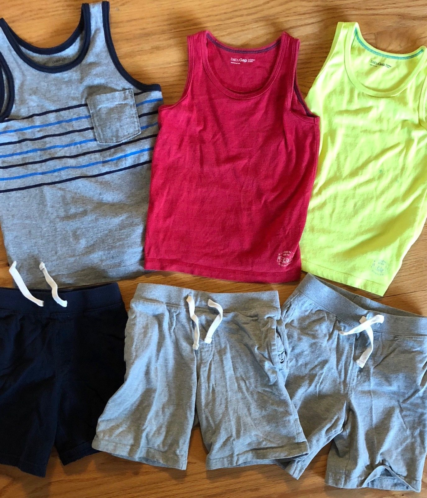 BABY GAP Tank Top + Knit Pull On Shorts Lot of 6 - Summer Outfits Blue Gray Red image 2