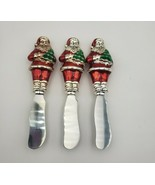 Set of 3 Towle Silversmith Christmas Santa Butter Spreaders with Enamel ... - $20.00