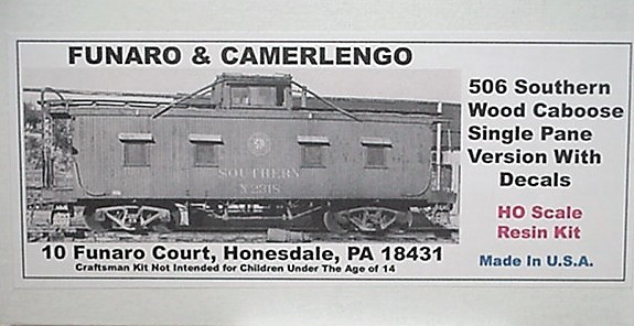 Funaro & Camerlengo HO Southern Single pane wood Caboose kit 506