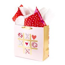 Large Valentine's Day Gift Bag Tissue Paper Red White Tic Tac Toe XOXO Hearts - $15.99