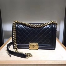 AUTHENTIC CHANEL LE BOY BLACK QUILTED CALFSKIN MEDIUM FLAP BAG RHW image 1