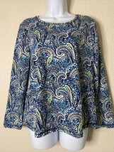 Weekends By Chico's Womens Size 2 Paisley Pattern Blouse Long Sleeve - $19.80