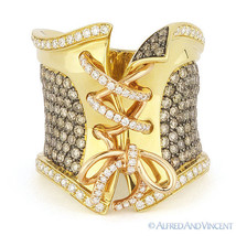 2.19 ct Brown & White Diamond Right-Hand Long Corset Ring 18k Yellow & R... - $4,299.99