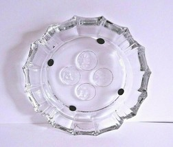 "Vintage Fostoria Large 8"" Diameter Clear Coin Glass Pattern Ash Tray - $18.71"