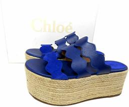 Chloe Blue Wave Platform Espadrilles Wedge Sandals Scalloped Slides Shoe 37 - $359.00