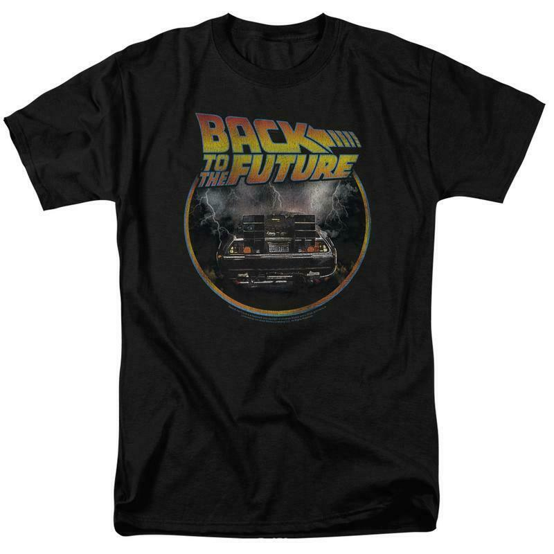 Back to the Future Retro 80's T Shirt Classic Marty McFly DeLorean Car UNI990