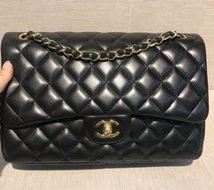 AUTHENTIC CHANEL BLACK LAMBSKIN QUILTED JUMBO DOUBLE FLAP BAG GOLD HARDWARE - $5,696.08 CAD