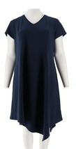 H Halston Crepe Knit Midi Dress Asymmetric Hem Navy M NEW A305390 - $39.58