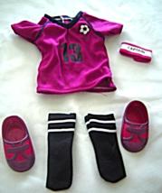 "Fushia Shirt Soccer Socks Shoes  Fits 18"" Doll American Girl Our Generation - $9.99"