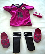 "Fushia Shirt Soccer Socks Shoes  Fits 18"" Doll American Girl Our Generation - $9.99"