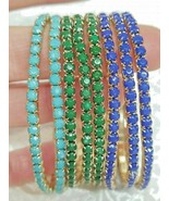 8 ~ Stretch Bracelet Flexible Elastic GREEN TURQUOISE  BLUE Gold Fashion... - $12.86