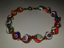 "8"" Vintage Venetian Millefiori Bead Bracelet Evil Eye Spade Heart Gorgeous! - $14.62"