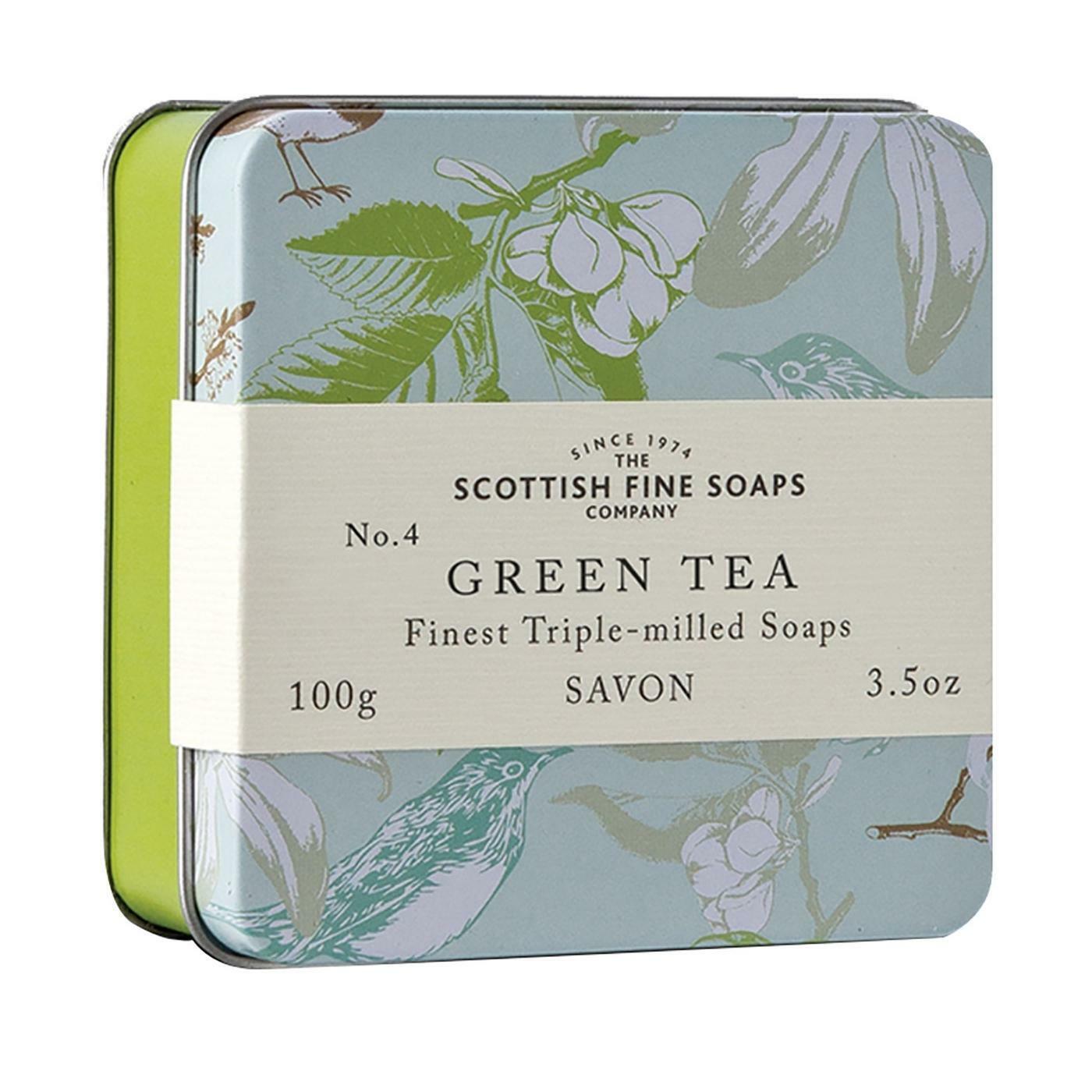 Scottish Fine Soaps Luxury Soap Green Tea Soap in a Tin 100g 3.5oz