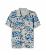 Gap Kids Boys Polo 12 Heather Gray Blue Ocean Print Short Sleeve Pique C... - $17.77