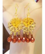 gold leaf brown drop chandelier earrings metal plastic glass beads jewelry - $4.99