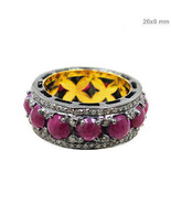 14k Gold Pave Diamond 925 Sterling Silver Ruby Band Ring Gemstone Jewelr... - $595.60