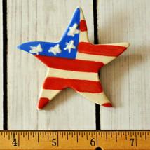 vintage large patriotic star brooch pin ceramic porcelain pottery flag p... - $7.91