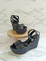 Coach Womens Leather Ankle Strap Wedge Heels Black Strappy Sandals Size 5 B - $45.53
