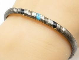 MEXICO 925 Silver - Vintage Black Onyx & Turquoise Bangle Bracelet - B4782 - $72.10