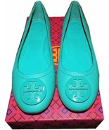 Tory Burch Reva Ballerina Flats ABBY Biscay Leather Ballets Shoe Turquoi... - $158.00