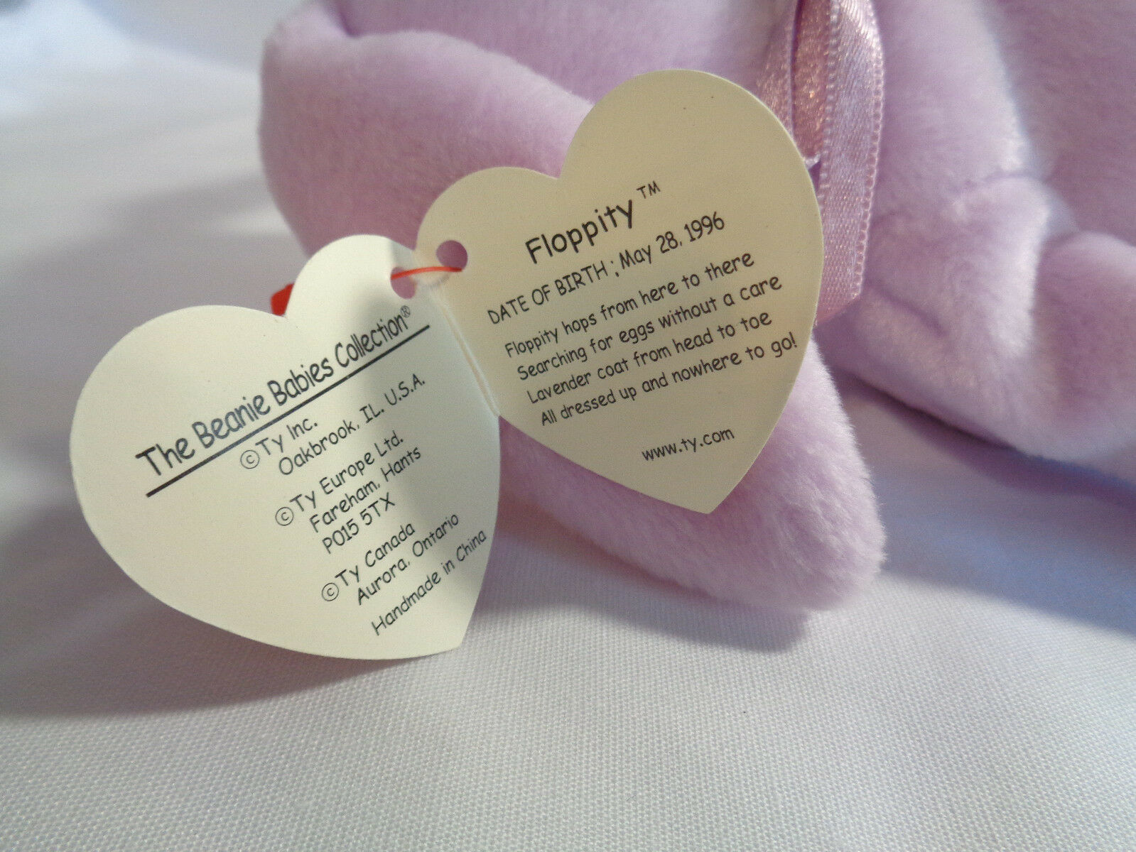"""TY Beanie Babies 1996 Lavender Bunny Floppity 8"""" w/ Hang Tag 5/23/96 image 6"""