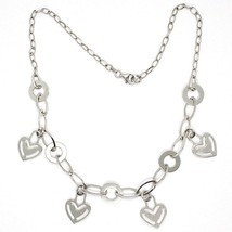 Necklace Silver 925, Chain Oval, Waterfall, Hearts Plates Hanging, Heart - $137.63