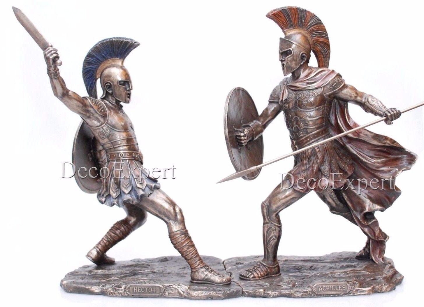 Hektor Trojan vs Achilles Spartan Two Sculptures * Air Shipping Everywhere