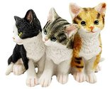 Feline Cat Three Kittens Black Yellow and Grey Kitty Cats Figurine Animal Decor