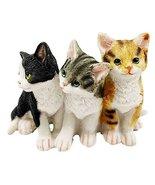Feline Cat Three Kittens Black Yellow and Grey Kitty Cats Figurine Anima... - $13.99