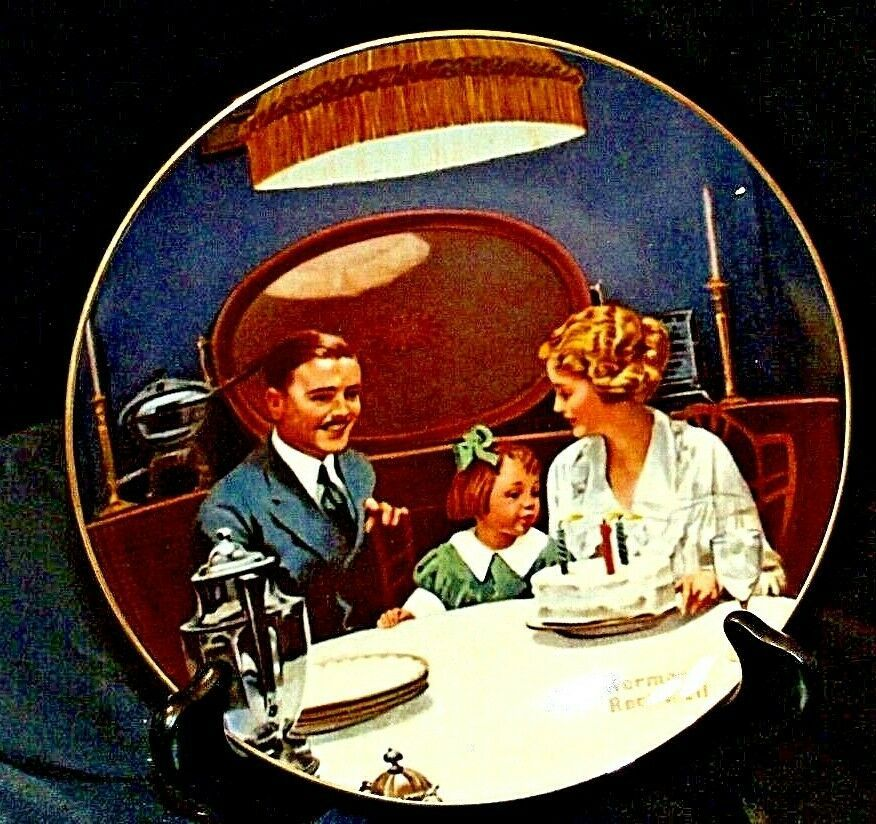 """1984 """"The Birthday Wish"""" by Norman Rockwell Plate with Box ( Knowles ) AA20-CP21"""