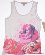 Laura Ashley Womens sz Small Sequined Floral Pattern Front Blouse Top Tank - $13.71