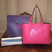 NWT TORY BURCH PERFORATED-LOGO TOTE IN Red Ginger/Tuscan wine - $252.09