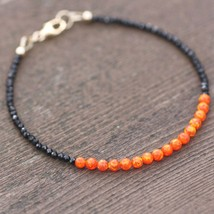 Natural Black Spinel and Fire Opal Bracelet 14K Yellow Gold Filled Sweet... - $59.39