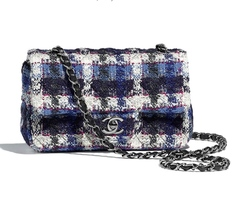 NEW AUTH CHANEL 2019 BLUE TWEED LARGE MINI 20CM RECTANGULAR FLAP BAG SO BLACK HW