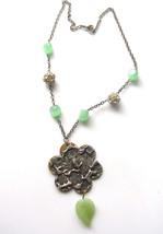 Hand Stamped Silver Metal Flower Leaf Necklace Vintage Mint Green Rhines... - $28.95