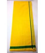 Men's Sarong Lungi Dhoti Mundu Fabric Night Beach Swim Cotton Yellow wit... - $17.81