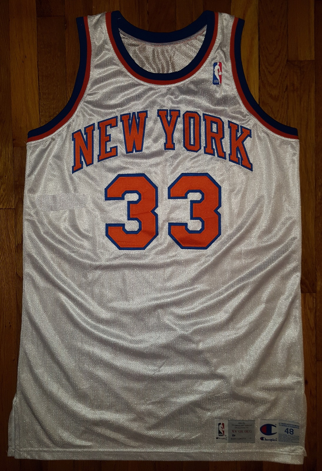 Primary image for 1992-93 New York Knicks Patrick Ewing Game Issued Jersey 48+6 worn used pro cut