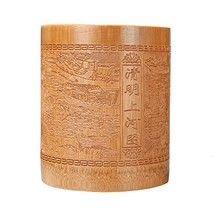 Pen Pencil Holder Cup for Desk Bamboo Wood Carving Desk Organizer Storage - €9,11 EUR