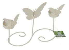 Cream Table Butterfly Garden Candle Holder. #cbj - $11.39