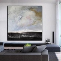 Black White Abstract Art Large Canvas Oil Painting Art No.B-002W - $115.69+
