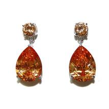 Tear Drop Champaigne Cubic Zirconia Dangle Earrings 28MM - $24.74