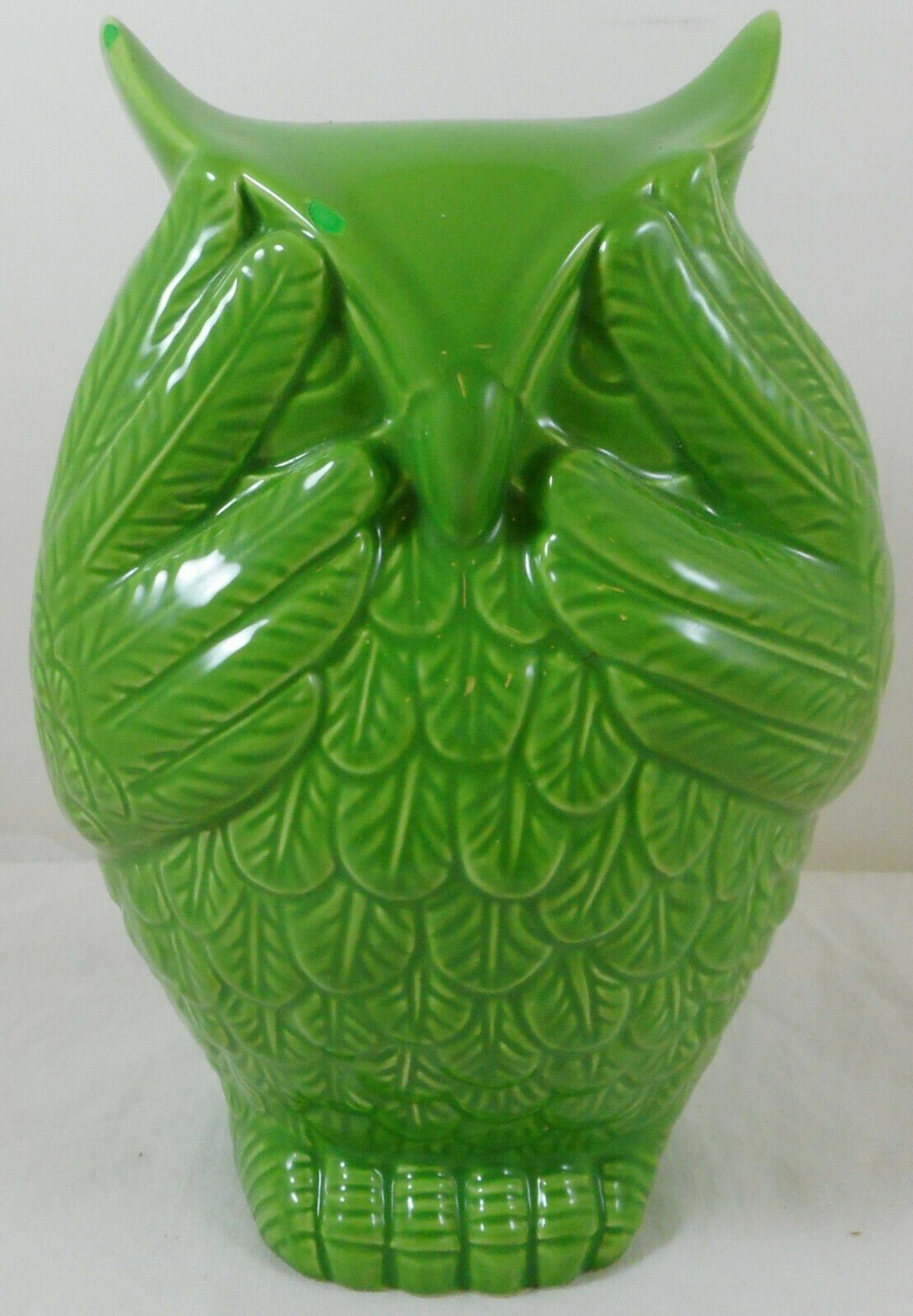 "Primary image for Urban Trends See No Evil owl Figurine 7"" Green Ceramic"
