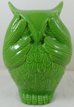 "Urban Trends See No Evil owl Figurine 7"" Green Ceramic - $12.86"