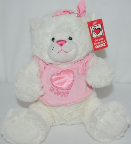 Ganz HV8974 Sweet Tweets Pink White Small Bear Girls Three Plus