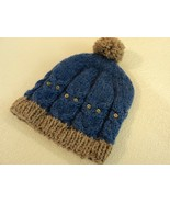Handcrafted Knitted Baby Hat Blue/Gray Owl Pom Pom 100% Wool Male 9-12 m... - $31.07