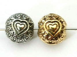 HEART FLATTENED ROUND FINE PEWTER BEAD Approx. 10MM X 10MM x 7MM, 1.5MM HOLE image 2