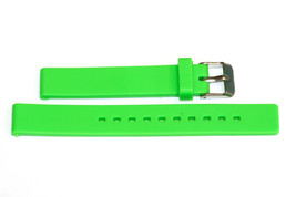 14MM BRIGHT GREEN RUBBER SILICONE SMOOTH WATCH BAND STRAP - $12.38
